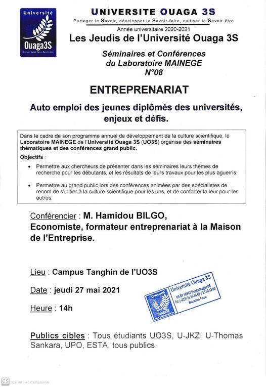 Séminaire de conférence N°8 du laboratoire MAINEGE, Thème: Entreprenariat