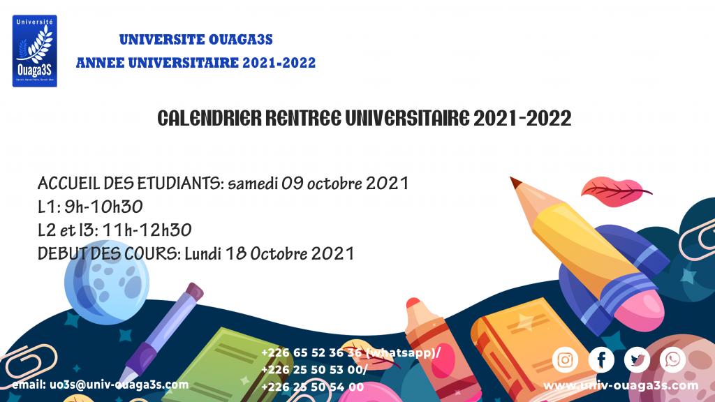 Rentrée universitaire 2021-2022